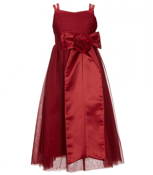 Chantilly Place Red Bow Sash Mesh Dress
